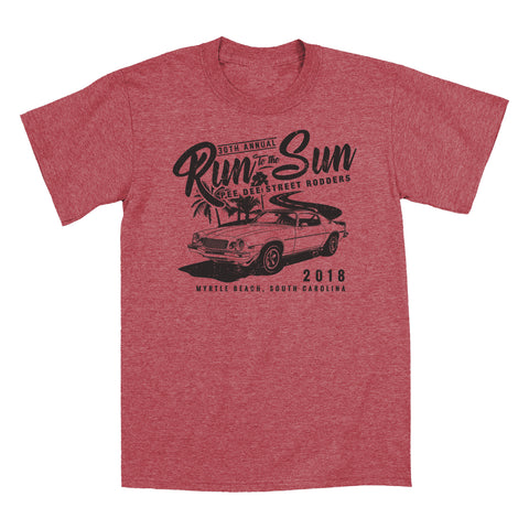 SALE - 2018 Run to the Sun official car show event t-shirt heather red Myrtle Beach, SC