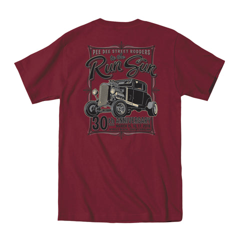 2018 Run to the Sun official car show event t-shirt maroon Myrtle Beach, SC