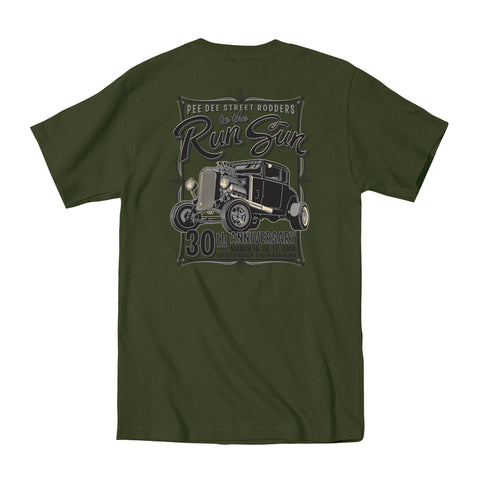 2018 Run to the Sun official car show event t-shirt military green Myrtle Beach, SC