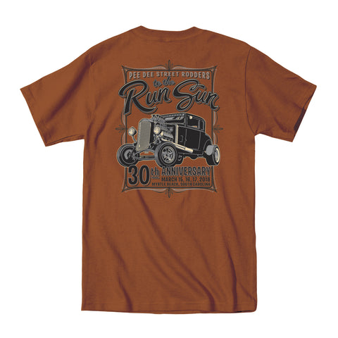 2018 Run to the Sun official car show event t-shirt texas orange Myrtle Beach, SC