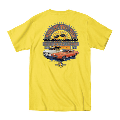 2018 Run to the Sun official car show event t-shirt yellow Myrtle Beach, SC