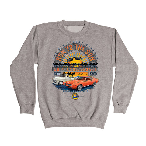 2018 Run to the Sun official car show event gray sweatshirt shirt Myrtle Beach, SC