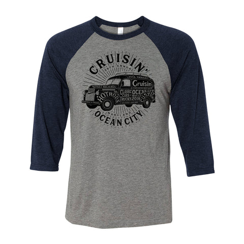 SALE - 2018 Cruisin official classic car show event 3/4 sleeve t-shirt gray / navy Ocean City