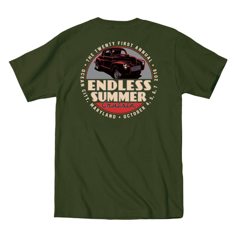 2018 Cruisin Endless Summer official car show event t-shirt military green Ocean City MD