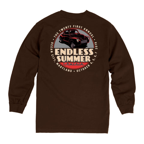 2018 Cruisin Endless Summer official car show long sleeve t-shirt dark brown Ocean City MD
