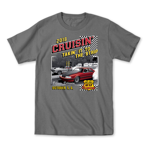 2018 Cruisin Endless Summer official car show t-shirt charcoal OC MD - US 13 Dragway