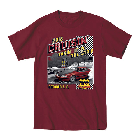 2018 Cruisin Endless Summer official car show t-shirt maroon OC MD - US 13 Dragway