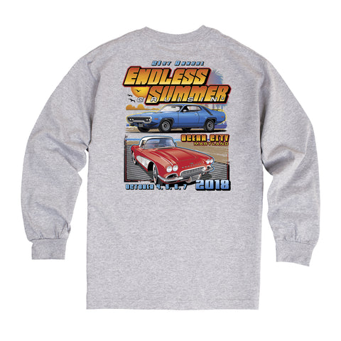 2018 Cruisin Endless Summer official car show long sleeve t-shirt athletic gray Ocean City MD