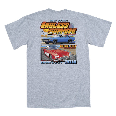 2018 Cruisin Endless Summer official car show event t-shirt athletic gray Ocean City MD
