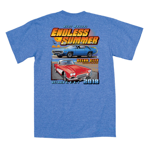 2018 Cruisin Endless Summer official car show event t-shirt heather royal Ocean City MD