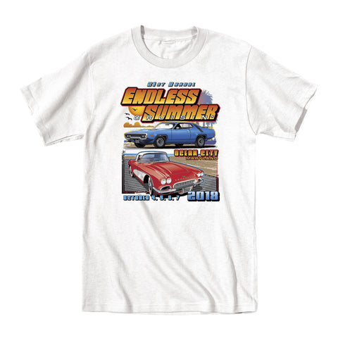 2018 Cruisin Endless Summer classic car show event youth t-shirt white Ocean City MD