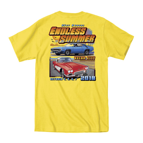 2018 Cruisin Endless Summer official car show event t-shirt yellow Ocean City MD