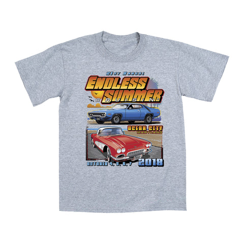 2018 Cruisin Endless Summer classic car show event youth t-shirt gray Ocean City MD