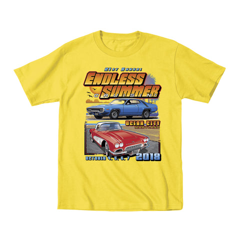 2018 Cruisin Endless Summer classic car show event youth t-shirt yellow Ocean City MD