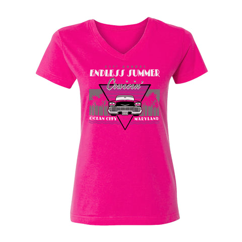 2018 Cruisin Endless Summer official car show women hot pink v-neck t-shirt Ocean City MD