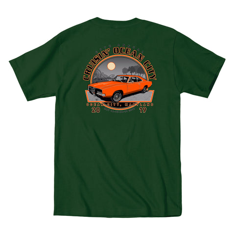 SALE - 2019 Cruisin official classic car show event t-shirt forest green Ocean City Maryland
