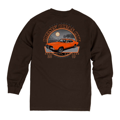 2019 Cruisin official classic car show event long sleeve t-shirt dark brown Ocean City MD