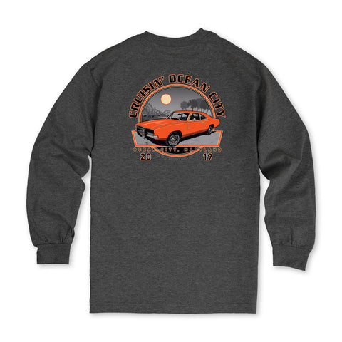 2019 Cruisin official classic car show event long sleeve t-shirt heather charcoal Ocean City MD