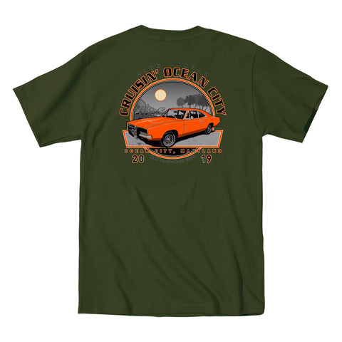 2019 Cruisin official classic car show event t-shirt military green Ocean City Maryland