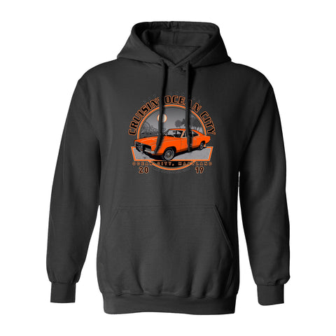 2019 Cruisin official classic car show event hooded sweatshirt charcoal Ocean City MD