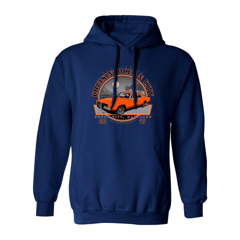 2019 Cruisin official classic car show event hooded sweatshirt navy Ocean City MD