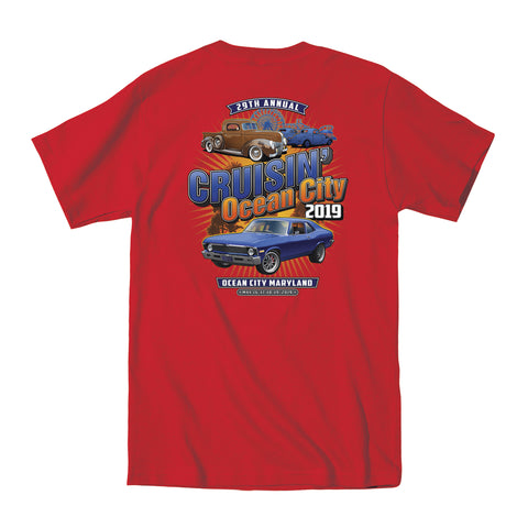 2019 Cruisin official classic car show event t-shirt red Ocean City Maryland