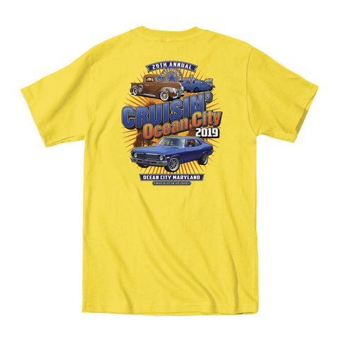 SALE - 2019 Cruisin official classic car show event t-shirt yellow Ocean City Maryland