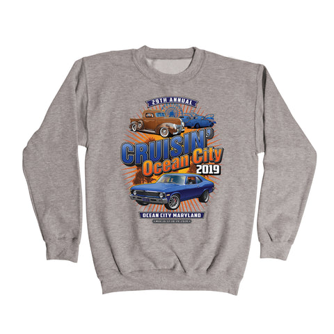 2019 Cruisin official classic car show event sweatshirt athletic gray Ocean City MD