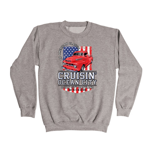 2019 Cruisin official classic car show event sweatshirt athletic gray Ocean City MD patriotic