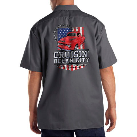 2019 Cruisin official classic car show event shop shirt charcoal Ocean City MD patriotic