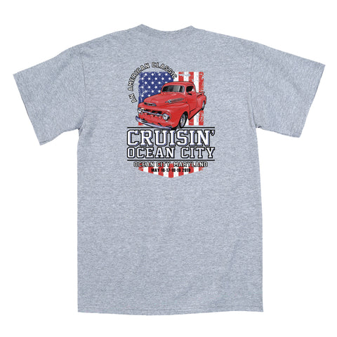 2019 Cruisin official classic car show event t-shirt athletic gray Ocean City MD patriotic