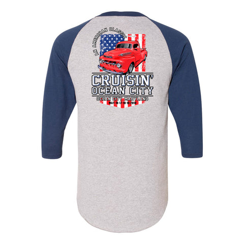 SALE - 2019 Cruisin official classic car 3/4 sleeve t-shirt gray navy Ocean City MD pat