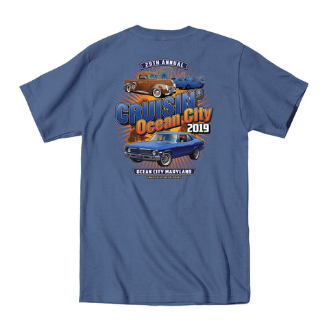 2019 Cruisin official classic car show event t-shirt blue jean Ocean City Maryland