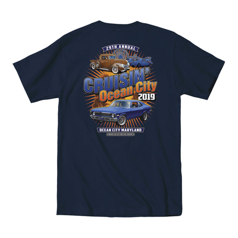 2019 Cruisin official classic car show event pocket t-shirt navy Ocean City Maryland