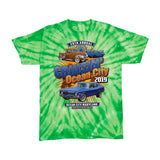 2019 Cruisin official classic car show youth t-shirt green tie dye Ocean City, MD