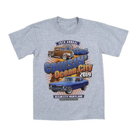 2019 Cruisin official classic car show event youth t-shirt athletic gray Ocean City, MD