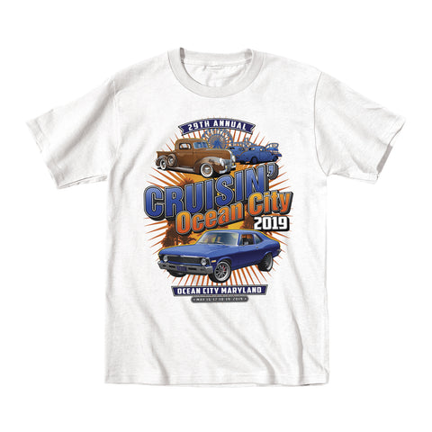 2019 Cruisin official classic car show event youth t-shirt white Ocean City, MD
