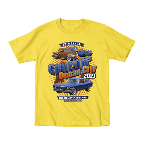SALE - 2019 Cruisin official classic car show event youth t-shirt yellow Ocean City, MD