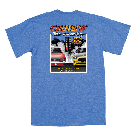 2019 Cruisin official classic car show event t-shirt heather royal OC, MD - US-13 Dragway