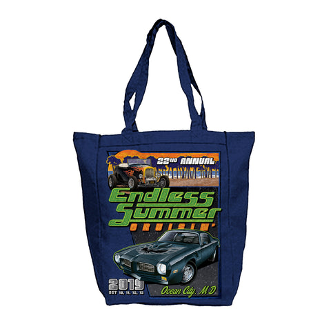 2019 Endless Summer Cruisin Ocean City official car show navy blue tote bag