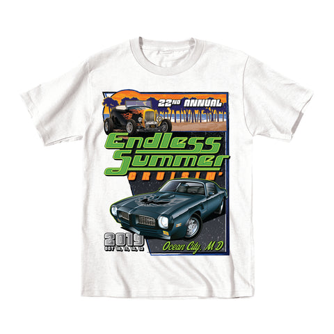 2019 Cruisin Endless Summer classic car show event youth t-shirt white Ocean City MD