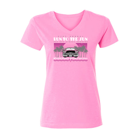 2019 Run to the Sun car show women's cut v-neck t-shirt pink Myrtle Beach, SC