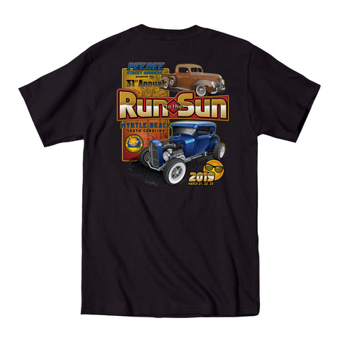 2019 Run to the Sun official car show event pocket t-shirt black Myrtle Beach, SC
