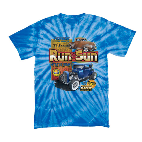 2019 Run to the Sun official car show youth t-shirt blue tie dye Myrtle Beach, SC