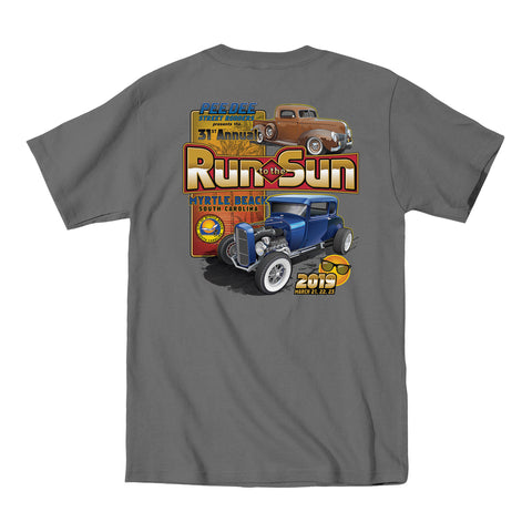 2019 Run to the Sun official car show event t-shirt charcoal Myrtle Beach, SC