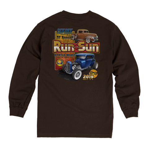 2019 Run to the Sun official car show long sleeve t-shirt brown Myrtle Beach, SC