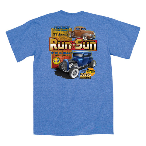 2019 Run to the Sun official car show t-shirt heather royal blue Myrtle Beach, SC