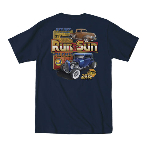 2019 Run to the Sun official car show event t-shirt navy Myrtle Beach, SC