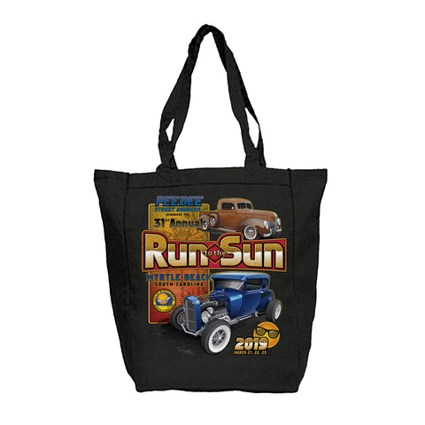2019 Run to The Sun official car show black tote bag Myrtle Beach SC