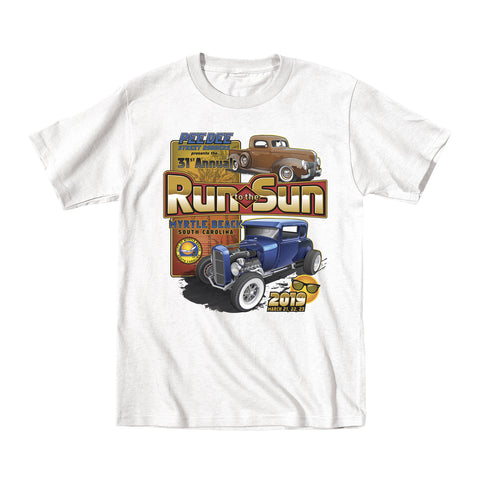 2019 Run to the Sun official classic car show event youth t-shirt white Myrtle Beach, SC